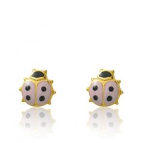Boucles d'oreilles Coccinelle, Or jaune 9 ou 18K et laquage - Emanessence