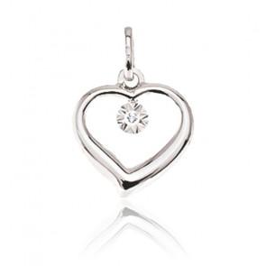 Pendentif amour, Or blanc 9 carats et diamant - Emanessence
