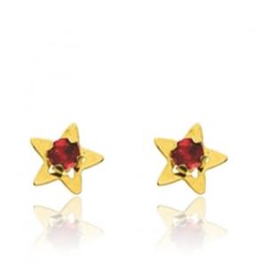Boucles d'oreilles Etoile, Or jaune 18K & Rubis - Emanessence