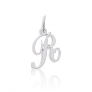 Pendentif lettre R, Or blanc 9 carats - Emanessence