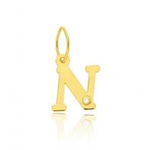 Pendentif lettre N, Or jaune 18K et diamant - Emanessence