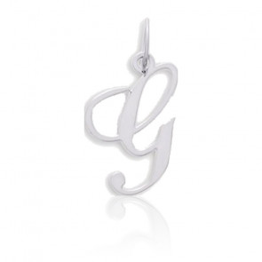 Pendentif lettre G, Or blanc 9 carats - Emanessence