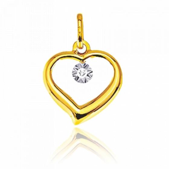 Pendentif amour, Or jaune 9 carats et diamant - Emanessence