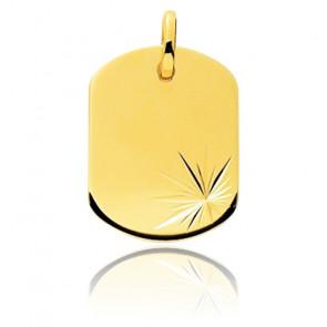 Pendentif gravable lapidé, Or jaune 9 ou 18K - Emanessence