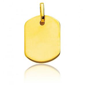 Pendentif plaque tonneau personnalisable, Or jaune 9 ou 18K - Emanessence