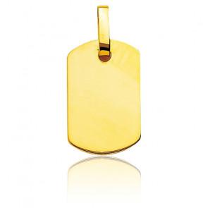 Pendentif plaque gravable , Or jaune 9 ou 18K - Emanessence