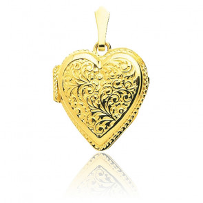 Pendentif photo coeur arabesque, Or jaune 18K - Emanessence