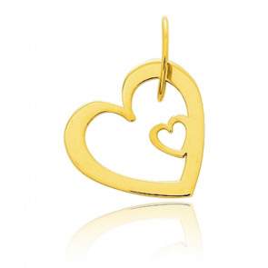 Pendentif double coeur, Or jaune 18 carats - Emanessence