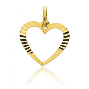 Pendentif coeur strié, Or jaune 9 ou 18 carats - Emanessence
