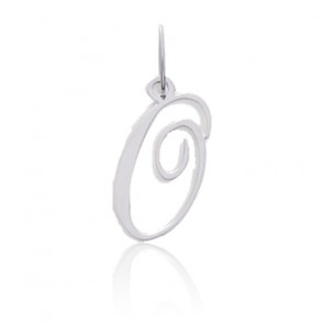 Pendentif lettre O, Or blanc 9 carats - Emanessence