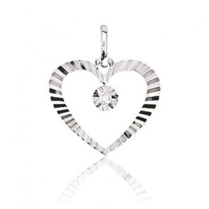 Pendentif coeur strié, Or blanc 9K et diamant - Emanessence