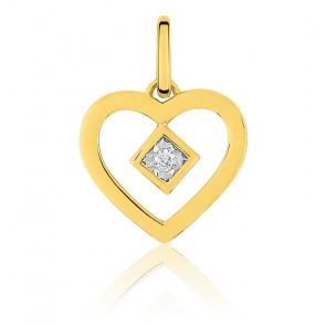 Pendentif petit coeur diamanté , Or jaune 18K - Emanessence