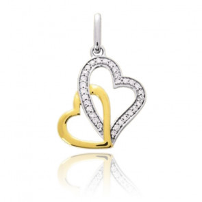 Pendentif duo de coeur, 2 Ors 18K et diamant - Emanessence