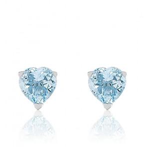 Puces d'oreilles amour, Or blanc 9K et Topaze bleue - Emanessence