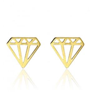 Boucles d'oreilles forme diamant, Or jaune 9K - Rosatella