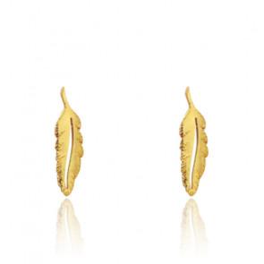 Boucles d'oreilles plumes, Or jaune 9K - Rosatella