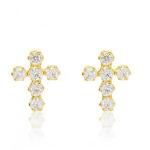Boucles d'oreilles croix, Or jaune 9K ou 18K - Emanessence