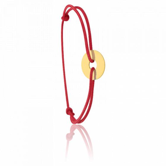 Bracelet cordon rouge pièce ajourée , Or jaune 9 ou 18K