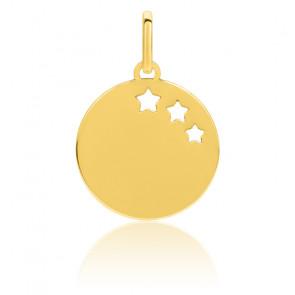 Médaille aux 3 étoiles, Or jaune 9 ou 18K - Emanessence