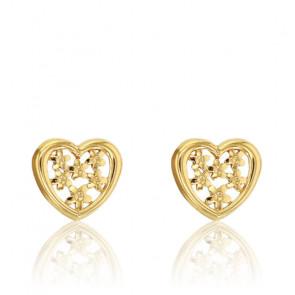 Boucles d'oreilles coeur ajouré, Or jaune 18K - Rosatella