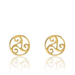 Boucles d'oreilles triskel, Or jaune 18K - Rosatella