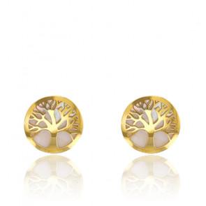 Boucles d'oreilles arbre de vie, Or jaune 18K et nacre - Rosatella
