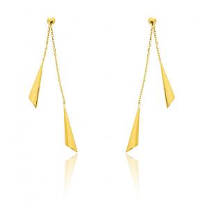 Boucles d'oreilles pendantes duo tulipes, Or jaune 9 ou 18K - Emanessence
