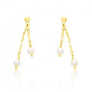 Boucles d'oreilles pendantes, Or jaune et perles blanches - Emanessence