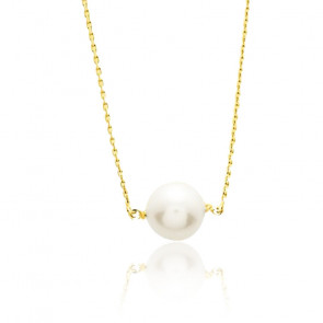 Collier perle blanche 8 mm , Or jaune 9 ou 18K - Emanessence