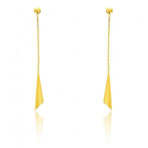 Boucles d'oreilles pendantes tulipes, Or jaune 18K - Emanessence