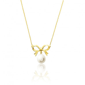 Collier noeud perle blanche 8 mm, Or jaune 9K - Emanessence