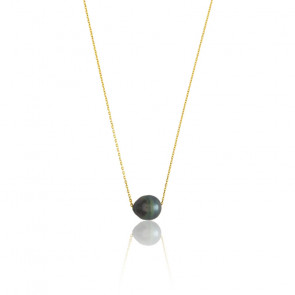Collier perle de Tahiti 10 mm, Or jaune 18K - Emanessence