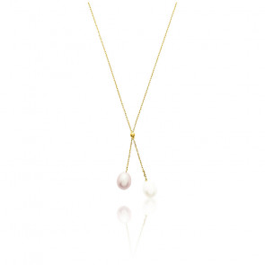 Collier duo perlé 7 mm, Or jaune 9 ou 18K - Emanessence
