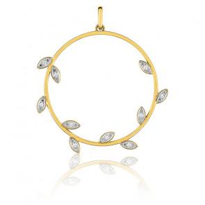 Pendentif cercle fleuri, Or jaune 9K et diamants - Emanessence