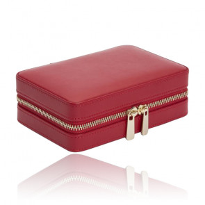 Boîte à bijoux voyage zip Palermo, Cuir rouge - Wolf 1834