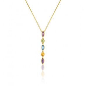 Collier femme pierres de couleurs en cascade , Or jaune 9K - Emanessence