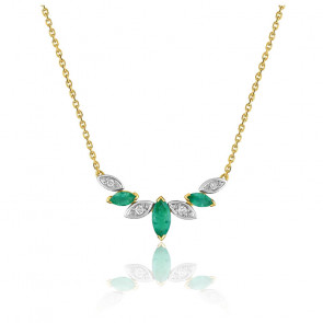 Collier emeraude marquise - Or jaune 18K et diamants - Emanessence