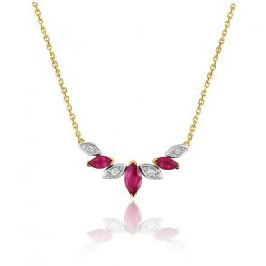 Collier rubis marquise - Or jaune 18K et diamants - Emanessence