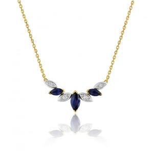 Collier saphir marquise - Or jaune 18K et diamants - Emanessence