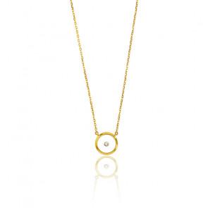 Collier femme cercle magique , Or jaune 9K et diamant - Rosatella