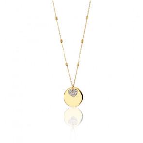 Collier en Or jaune et or blanc 9K médaille et coeur- Rosatella