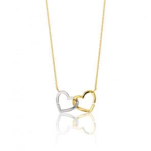 Collier cœurs entrelacés , Or jaune et or blanc 9K- Rosatella