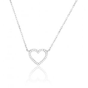 Collier coeur en diamants, Or blanc 18 carats - Emanessence