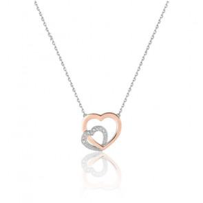 Collier coeur entrelacé diamanté, Or blanc et rose 18K - Emanessence