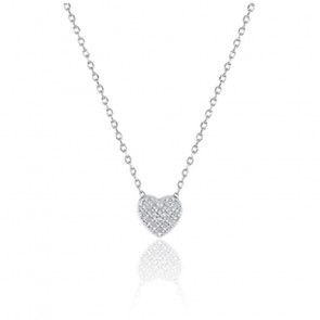 Collier coeur diamanté, Or blanc 9K - Emanessence