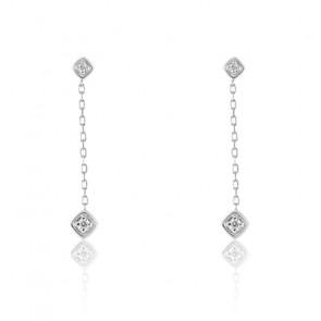 Boucles d'oreilles losanges diamantés, Or blanc 18K - Emanessence