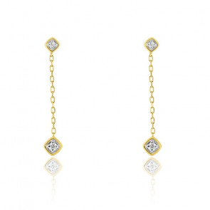 Boucles d'oreilles losanges diamantés, Or jaune 18K - Emanessence