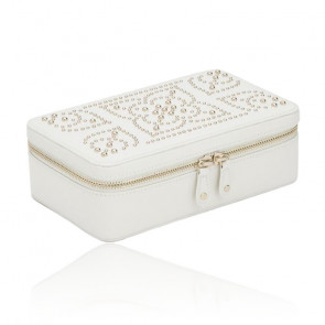 Boîte à bijoux zip Marrakesh, Cuir crème - Wolf 1834