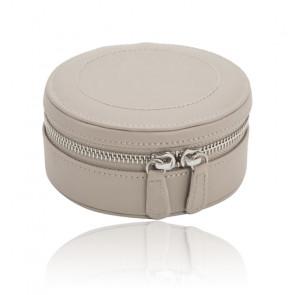 Mini boîte à bijoux ronde zip Sophia, cuir taupe - Wolf 1834
