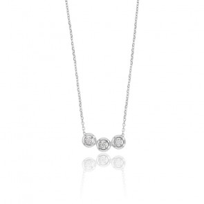 Collier femme trio de diamants , Or blanc 18K et diamants - Rosatella